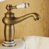 banyo musluğu antik pirinç kaplama toptan satış-Banyo Musluk Antika bronz son'u Pirinç Havzası Evye Bataryası Tek Kolu su muslukları Banyo Lavabo Bataryaları