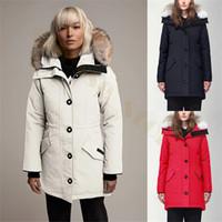 dış kat fermuarı toptan satış-Kadınlar Palto Aşağı Parkas Hoody Kanada 2020 Kurt gerçek Kürk Ceket Fermuarlar Tasarımcı Ceket Sıcak Coat Açık Parka doudoune femme