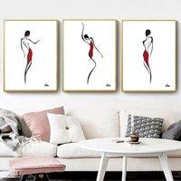 soyut modern siyah beyaz tuval resmi toptan satış-Modern Soyut Dans Kadın Duvar Sanatı Tuval Boyama, Siyah-Beyaz-Kırmızı Çizgi Çizim Sanat Boyama Nordic Minimalist Duvar Posteri 3 adet / takım