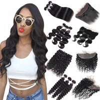 Wholesale curly 18 inch human hair online - 8 inch Brazilian Body Wave Bundles with Lace Frontal Peruvian Deep Wave Kinky Curly Human Hair Bundles with Closure Straight Closure