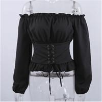 женская одежда корсет оптовых-Женская мода Дамы с длинным рукавом с открытыми плечами Блузка Рубашка зашнуровать корсет