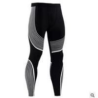 erkek spor pantolon sığdır toptan satış-Moda Erkek Spor Sıkıştırma Tayt Spor Eğitim Pantolon Erkekler Koşu Tayt Pantolon Erkekler Spor Kuru Fit Koşu Pantolon S-3XL Ile