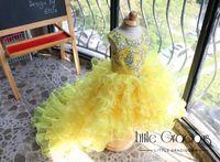 vestido de novia de organza amarillo al por mayor-Cristales amarillos Africanos 2019 Vestidos de niña de flores Sin respaldo Organza Vestidos de novia de niña Niña Comunión infantil Vestidos del concurso