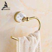 anillos de toalla de plástico al por mayor-Anillo de toalla de aleación de zinc de montaje en pared Decoración Accesorios de baño Auswind en Oro sostenedor de la toalla de la toalla de baño de hardware Bar 5207