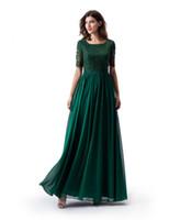 chiffon chão saia comprimento verde venda por atacado-Verde escuro a linha longo modesto vestido de baile com mangas meia rendas topo chiffon saia do assoalho womrn vestido de noite formal qua vestido de festa