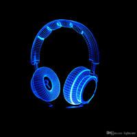 mejor lampara de dormitorio al por mayor-Regalo de Navidad de mesa LED niño de la decoración del dormitorio 3D Mejor Regalo colorido del auricular de DJ luz de la noche Estudio de música monitor de auriculares de alta fidelidad del auricular de la música de la lámpara