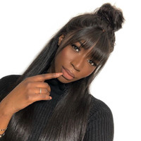 Wholesale remy human hair bangs for sale - 360 Lace Frontal Wig With Bangs Straight Lace Front Human Hair Wigs For Women Pre Plucked With Baby Hair