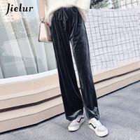 pantalones holgados coreanos de las mujeres al por mayor-Jielur New Autumn Drawstring Women Pants Coreano Winter Color sólido Baggy pantalones anchos de la pierna Pantalones de terciopelo Harajuku Xs-xxl Dropship MX190716