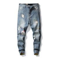 jeans robin pour vêtements hommes achat en gros de-Pantalons de survêtement Skinny Moto Denim Pantalons Zip Designer Blue Robin Hommes Jeans Casual Hommes Rock revival Jeans Pantalons