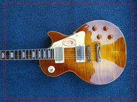 Wholesale guitar stores resale online - Free delivery upgrade custom store R9 tiger flame LP electric guitar standard LP Electric Guitar Electric Guitars