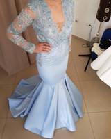 hermoso vestido de noche azul con cuentas al por mayor-Light Sky Blue V Neck Sirena Encaje Apliques Con cuentas Mangas largas Vestidos de noche Hermosos vestidos de cóctel Por encargo Prom Vestidos de fiesta
