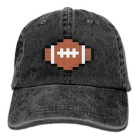 2019 New Wholesale Baseball Caps Print Hat Rugby Ball Pixel Art Mens Cotton  Adjustable Washed Twill Baseball Cap Hat 1a6f1973a030