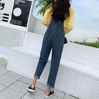 New Style College Style Strumpfhose Damen Capri gerade geschnittene Hosenträger Hosen Retro gewaschene Blau Lose Fit koreanischen Stil Jean