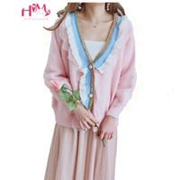 ingrosso cardigan in raso rosa-Donne coreane Cute Ruffles Pink Sweater Japan Lolita Elegante manica lunga dolce cardigan lavorato a maglia Soft Girl's Outwear Coat Jumpers