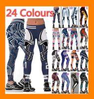 calças de yoga apertadas para mulheres venda por atacado-Womens por atacado Legging impressos Leggings treino magros calças justas calças de yoga cintura alta elástico esticar Jogging Gym calças justas ampla de fitness cinto