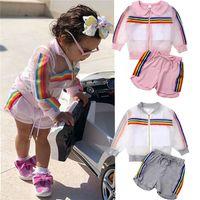 baby regenbogen mantel großhandel-Neugeborenes Kindbaby scherzt Kleidung 3PCS Regenbogen-langes Hülsen-Coat + Vest + Shorts Farben-Kindkleidung UJY301 der Ausstattung 2
