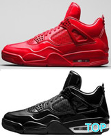 черные кожаные ботинки баскетбола оптовых-Лучшее качество 2020 4s 11Lab4 Красный лакированная кожа баскетбольная обувь мужчины 4 11Lab4 черный спортивные кроссовки с коробкой
