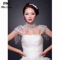ingrosso scialle di nozze in rilievo avorio-In magazzino 2018 Promozione Crystal Jewelry Lace Avorio Wedding Scialle Jacket Bolero Jacket Beaded Bridal Bridal