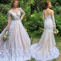 Wholesale wedding dress back button sash for sale - Group buy 2020 Luxury Lace Mermaid Wedding Dress Removable Train Vintage Illusion Long Sleeve Buttons Back Wedding Gowns with Skirt robe de mariage