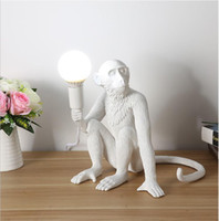 Wholesale seletti for sale - Group buy Modern Black Monkey table lamp Hemp Rope Pendant Light Fashion Simple Art Nordic Resin Seletti Hanging Monkey Lamp