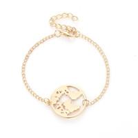 ingrosso fascino di viaggio per i braccialetti-Mappa del mondo Bracciali Moda Braccialetti Gioielli Oro Argento Colore Globo terrestre Braccialetto di fascino Regalo di gioielli da donna