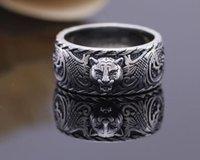 ingrosso annata animale-Vintage argento 925 gg amante Anelli nero 3D della testa della tigre unico anello animale per l'uomo le donne del motociclista punk marchio di gioielli regalo di lusso