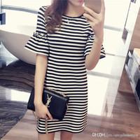 271e5cdc2796 girls dress black bottom Canada - Summer new dress long t-shirt girl stripe  loose