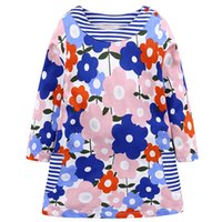 Wholesale big round christmas lights resale online - Baby Girl Dress Kids Skirts Long Sleeve Round Neck Cartoon Button Big Pocket Cute Princess Dress