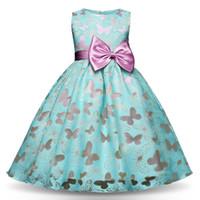 vestidos de niña mariposa al por mayor-Fancy Butterfly Kids Girl Wedding Flower Girls Dress Princess Party little girl Pageant Dress Prom Little Baby Girl Birthday Dress 4.6