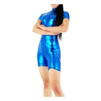 передняя шея оптовых-Womens Metallic Short Sleeve leotards Front Zipper Adults Mock Neck Biketard Dance Wear Royal Blue Turtleneck Bodysuits