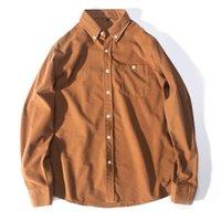 camisa de pana para hombre l al por mayor-Marca al por mayor de diseño para mujer para hombre camisas de manga larga de Calle rotación cuello de pana sólido de negocios ocasional de la camisa de calidad superior B101771V