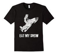 ropa de nieve al por mayor-Eat My Snow Snowmobiler Rider Jump Camiseta Estampado Cuello Redondo Moda Hombre 100% Algodón Camiseta Marca de Ropa Verano 2017