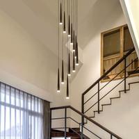 lámpara de suspensión negra al por mayor-Iluminación moderna de la lámpara de la escalera del negro del LED luces colgantes de la escalera larga cónica de aluminio luminaria de la suspensión lustre espiral para las lámparas de la escalera