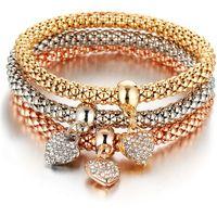 brazaletes de damas de honor al por mayor-2019 Pulsera de oro rosa de cristal del corazón colgante brazaletes de moda para las mujeres joyería de moda regalo de dama de honor pulseras del encanto NUEVO regalo 3pcs / set