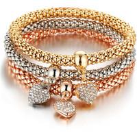 bracelets de demoiselles d'honneur achat en gros de-2019 Rose Bracelet En Or Pendentif En Cristal De Coeur De Mode Bracelets Pour Les Femmes À La Mode Bijoux Demoiselle D'honneur Cadeau Charme Bracelets NOUVEAU Cadeau 3 pcs / ensemble