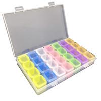 контейнер для хранения ящиков с прозрачной пластмассой оптовых-2017 New Clear Plastic 28 Slots Jewelry Storage Box Case Craft Organizer