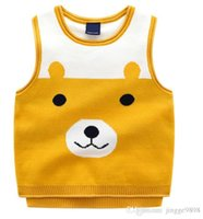 Wholesale baby knit vests for sale - Group buy Korean version boy s double decked baby bear jacquard knitted vest baby cartoon Turtleneck Sweater Vest