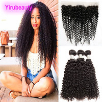 Wholesale vrigin hair resale online - Kinky Curly Bundles With Lace Frontal Indian Vrigin Human Hair Bundles With X4 Lace Frontal Pre Plucked Hair Extensions Wefts