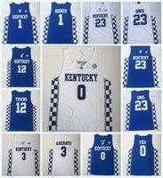 faculdade rápida venda por atacado-NCAA Kentucky Wildcats Faculdade 0 FOX 3 ADEBAYO12 CIDADÃOS 23 ANTHONY DAVIS 1 DEVIS 100% Costurado Faculdade Basquete Jerseys S-3XL Transporte Rápido