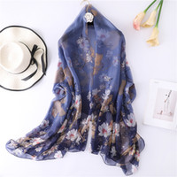 Wholesale polyester hijabs resale online - Floral Print Summer Scarf For Women Oversize Beach Stoles Soft Silk Scarves Female Hijabs Bandana Pahsmina Lady Shawls