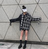 longue chemise copain femme achat en gros de-Printemps et automne rue Harajuku rétro style petit ami style large pin chemise à carreaux BF épissure marée manches longues femmes et hommes chemises