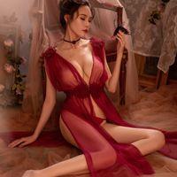 gecelik gelinlik iç çamaşırı toptan satış-5 renkler Yüksek Kalite Sexy Lingerie Net Gazlı Bez Dantel Nakış Sheer Uzun Gece Elbise Nightgowns Sleepshirts Kadınlar Gecelikler Y19042803