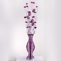 освещение напольной вазы оптовых-Vase лампы Алюминиевый пол светильник ручной искусства освещение свадьбы декоративные фонари высокого качества металла Сделано торшеры