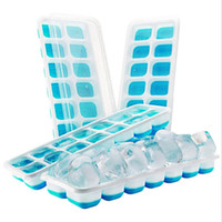 Wholesale blue ice cubes for sale - Group buy Ice Cube Trays Food Grade Silicone Ice Cube Mold With Holes Covered Ice Cube Tray Set Blue Green Optional XH1051