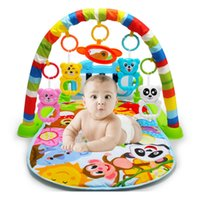 tapis de gymnastique pour enfants achat en gros de-Tapis de piano de support de forme physique d'enfants de bébé de bébé avec la couverture animale mignonne hochets Jouets tapis de gymnastique d'activité de rampement éducatif J190508