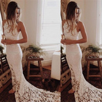 Wholesale lace halter neck mermaid wedding dresses for sale - Group buy New Cheap Bohemian Sexy Arabic Mermaid Wedding Dresses Summer Beach Halter Illusion Full Lace Sweep Train Formal Plus Size Bridal Gowns