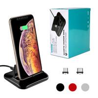 mikro usb beşiği toptan satış-Evrensel Mikro USB C Tipi Manyetik Cazibe Dock Telefon Şarj Standı Cradle Cep Telefonu Samsung Android için Hızlı Şarj Istasyonu Tutucu