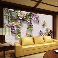 mural clásico rosa al por mayor-Gran cantidad de joyas en relieve 3D Rose Mural Wallpaper Estilo chino Flores clásicas Hotel Sala de estar Fondo Pinturas murales