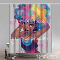 siyah büyü kadın toptan satış-Kişiselleştirilmiş Liberty Art Peyton Siyah Kız Afrika Queens Amerikan Kadınlar Güzellik Sihirli Su Geçirmez Duş Perdesi