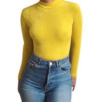 ingrosso jumpsuits in stile coreano-2019 New Sexy Womens Clothes manica lunga con collo alto dolcevita tuta coreana di colore giallo sexy tuta